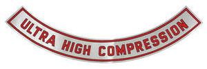 "1965 Cutlass/442 Air Cleaner Decal Ultra-High Compression 11-1/2"" (Silver)"