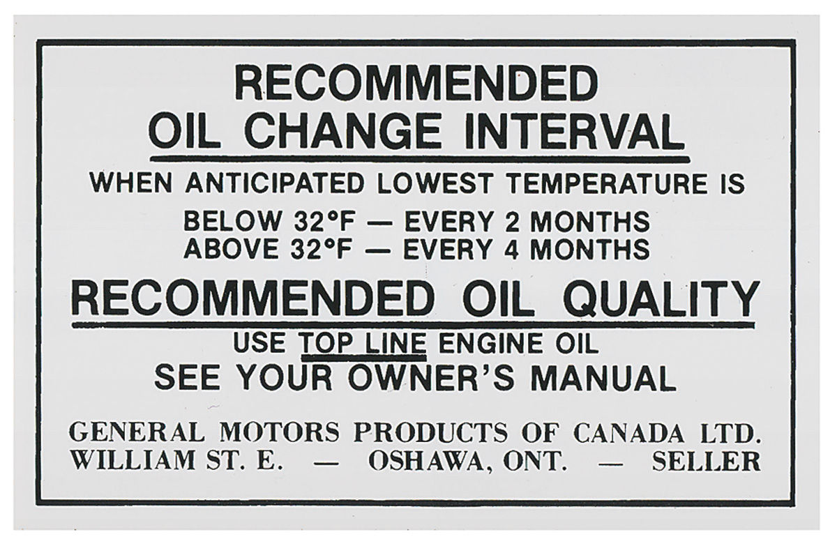 Cutlass/442 Oil Change Decal, Canada Fits 1970-71 Cutlass