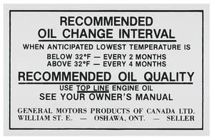 1970-1971 Cutlass Oil Change Decal, Canada