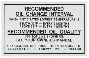 1970-71 Cutlass Oil Change Decal, Canada