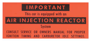 1966-1967 Cutlass Emissions Decal California Emissions Air-Injection Reactor