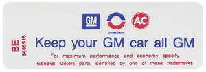"1970-1971 Riviera Air Cleaner Decal, ""Keep Your GM Car All GM"" 455-4V (BE, #6485518)"