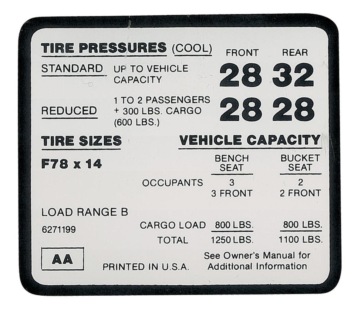 Photo of Tire Pressure Decal El Camino SS (F78 x 14 tire) (AA, #6271199)