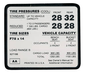 1972 Tire Pressure Decal El Camino SS (F78 X 14 Tire) (AA, #6271199)