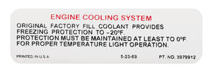 1970-72 Tempest Cooling System Decal Factory Coolant Lable