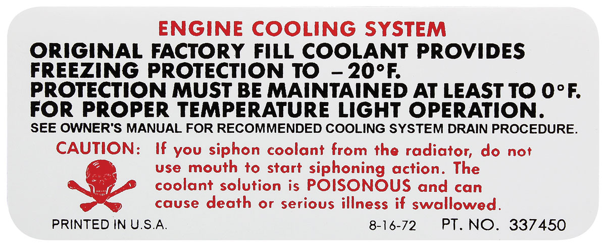 Photo of Cooling System Decal (early '74) (#337450)
