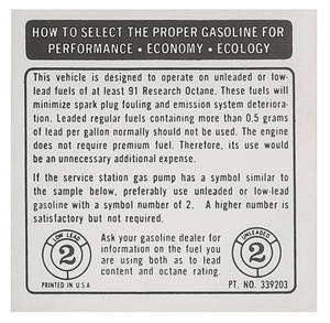 1964-71 Chevelle Fuel Recommendation Decal 91 Research Octane Required