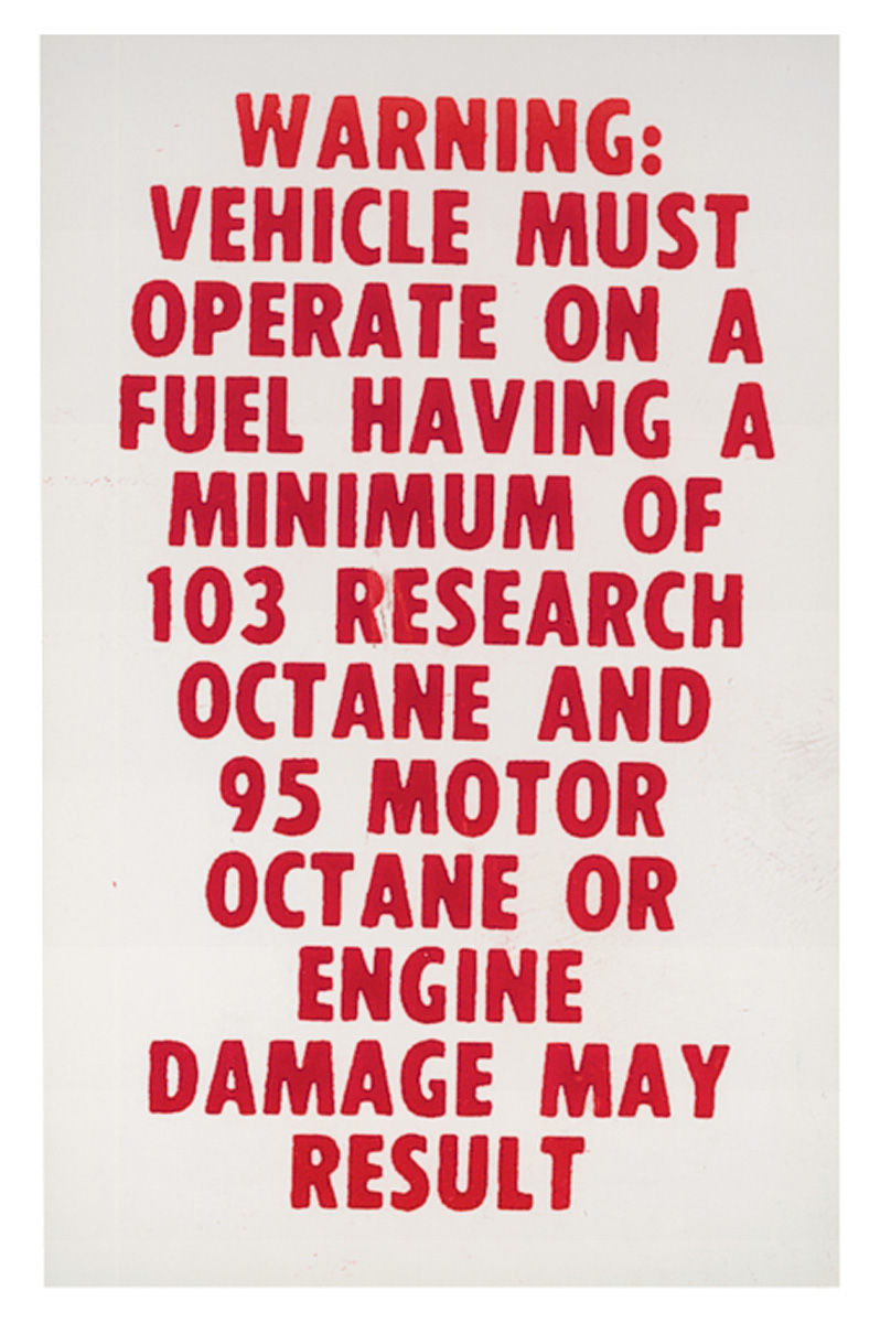 Photo of Fuel Recommendation Decal 103 research/ 95 motor minimum