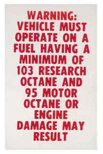 1964-1971 El Camino Fuel Recommendation Decal 103 Research/ 95 Motor Minimum