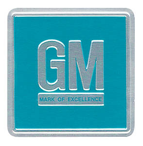 "1966-67 Riviera Mark Of Excellence Decal, ""GM"" Turquoise"