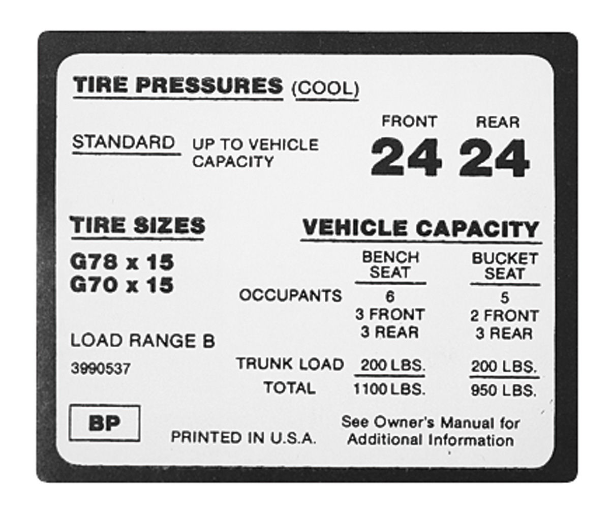 Photo of Tire Pressure Decal (BP, #3990537)