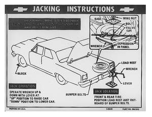 1976-77 Jacking Instruction Decal Chevelle (Regular Tire) (#371130)