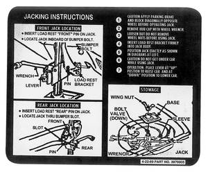 1970 Jacking Instruction Decal Chevelle Early (#3979905)