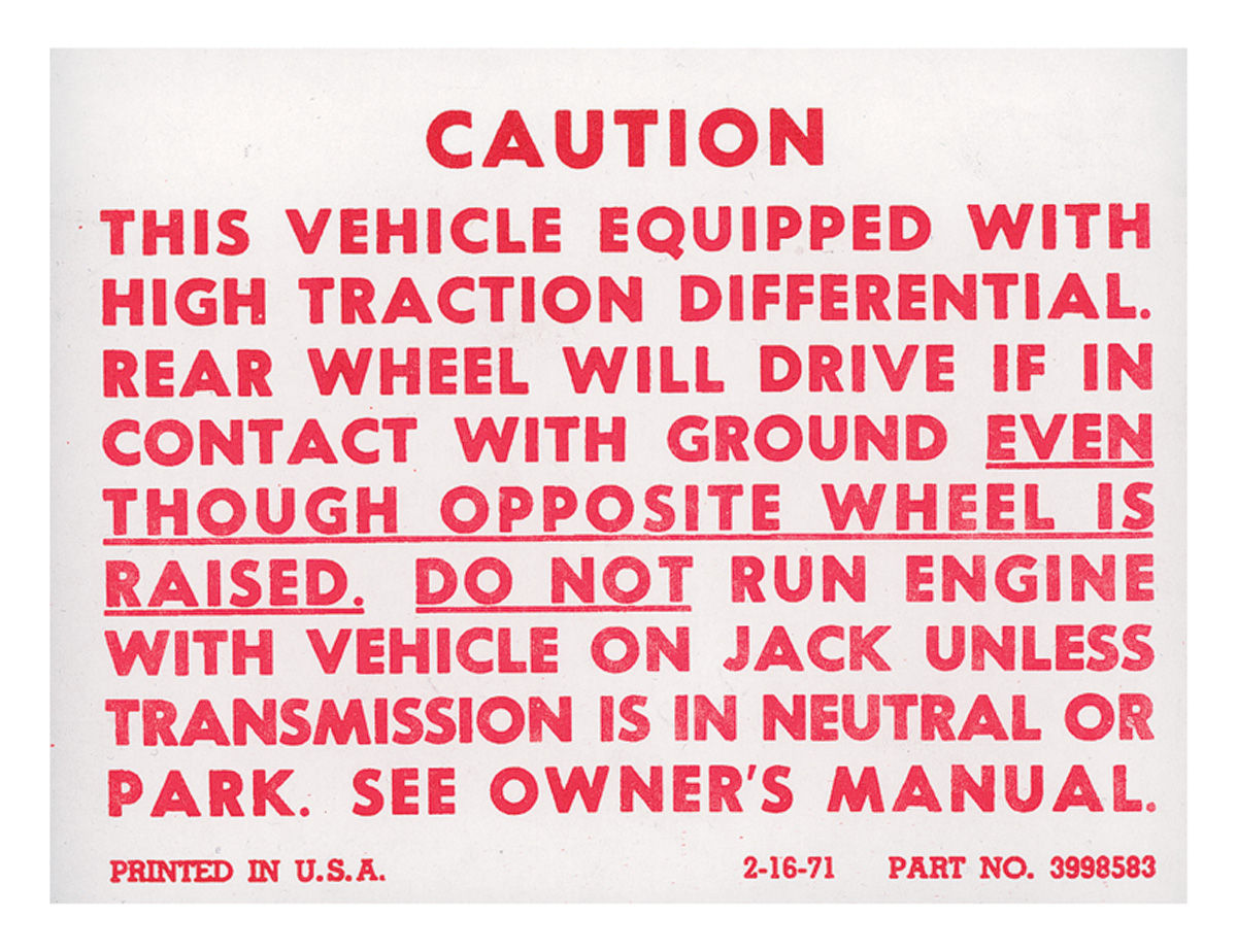 Photo of Trunk Posi-Traction Label Decal (#3998583)