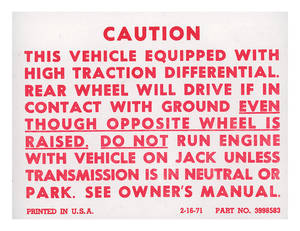 1978 El Camino Trunk Posi-Traction Label Decal (#3998583)