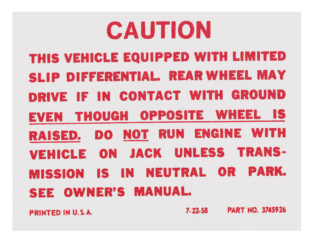 Photo of Trunk Decal, Posi-Traction Label (#3845926)