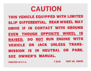 1965 Catalina Trunk Decal, Posi-Traction Label (#3845926)