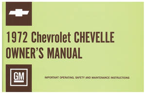 1972-1972 Chevelle Owners Manuals, Authentic