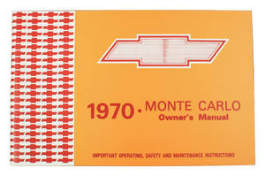 1970-1970 Monte Carlo Authentic Owner's Manuals