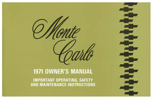 1971-1971 Monte Carlo Authentic Owner's Manuals