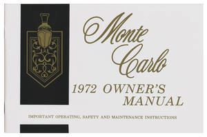 1972 Monte Carlo Authentic Owner's Manuals