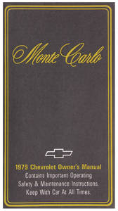 1979-1979 Monte Carlo Authentic Owner's Manuals Monte Carlo