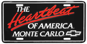 "License Plate, ""Heartbeat Of America"" Monte Carlo"