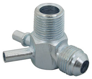"1967-70 Skylark Brake Booster Fitting (Power Brake) 3-Port, Screw-on/Two 1/4"" Slip-on"