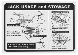 1965 LeMans Jacking Instruction Decal