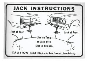 1964 GTO Jacking Instruction Decal Early