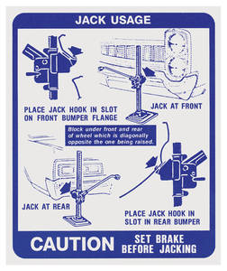 1967 GTO Jacking Instruction Decal (#9777808)