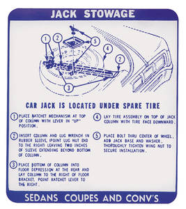 1967 LeMans Jack Stowage Decal Sdn./Cpe./Conv., Early (#9777809)