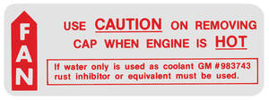 "1964 Radiator Decal, ""Caution - Fan"" Bonneville/Catalina (#983743)"