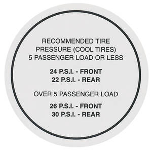 1965 Tempest Tire Pressure Decal