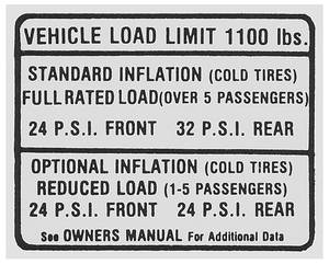 1967 Catalina Tire Pressure Decal