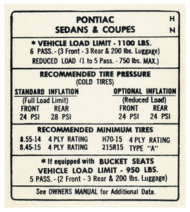 "1968 Bonneville Tire Pressure Decal ""HN"""