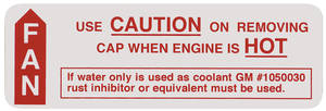1967 LeMans Cooling System Decal Caution Fan (#1050030)