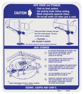 1971-72 GTO Jacking Instruction Decal (#481169)