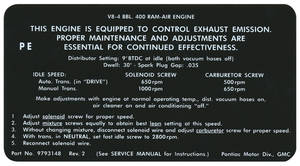 1970 LeMans Emissions Decal California Evap. Control System (#480919)