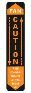 "1962-63 Bonneville Radiator Decal, ""Caution - Fan"" (Vertical)"