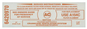 1965-1967 Tempest Air Cleaner Service Instruction Decal Tempest w/A154C (Red, #6420970)