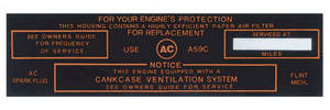 1964-65 LeMans Air Cleaner Service Instruction Decal Tri-Power, w/A59C (Black)