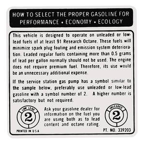 1972-1974 Catalina Fuel Recommendation Decal (#339203)