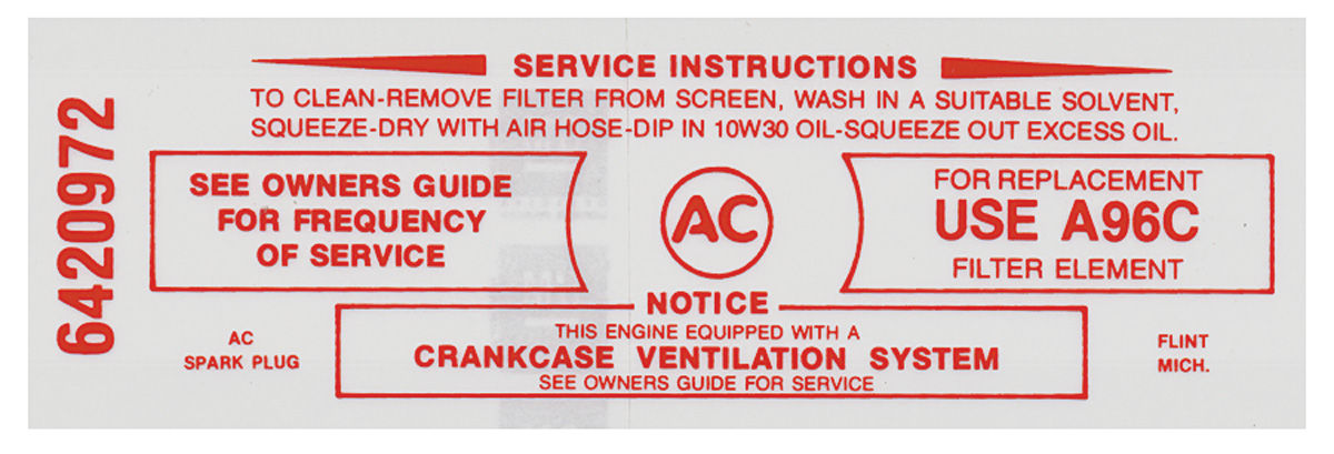 Photo of Bonneville Air Cleaner Service Instruction Decal 389-428 w/A96C (red, #6420972)