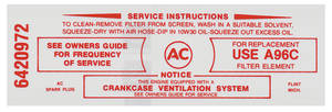 1965-66 Tempest Air Cleaner Service Instruction Decal 389-428 w/A96C (Red, #64210972)