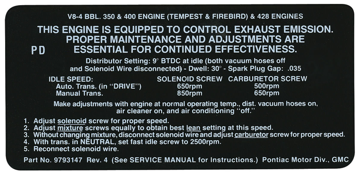 Photo of Emissions Decal 350/400/428-4V (PD, #9793147)