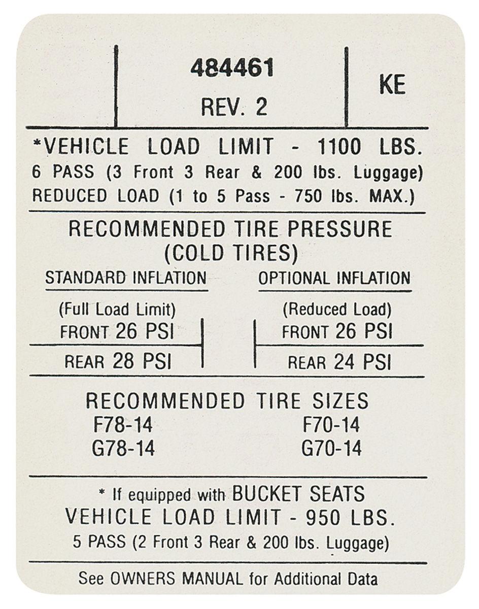 1971 gto tire pressure decal  ke   484461    opgi com