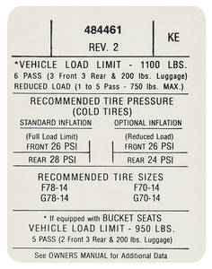 1971 Tempest Tire Pressure Decal (KE, #484461)