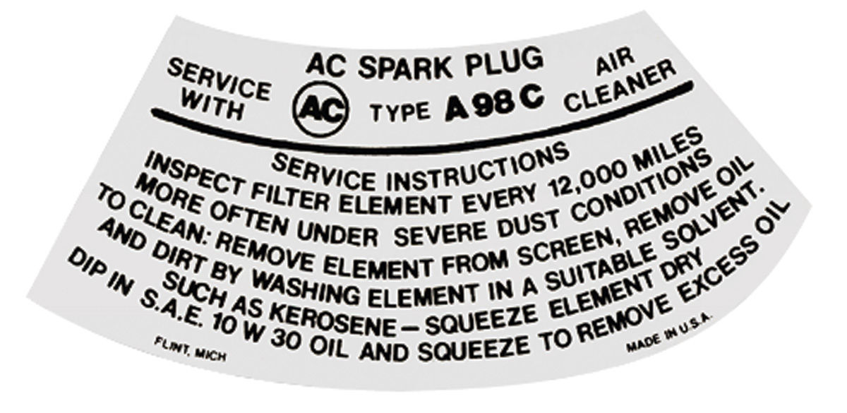 Photo of Air Cleaner Service Instruction Decal w/A98C (white)