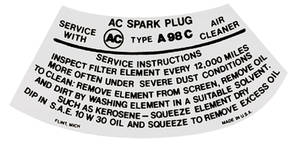1968 Grand Prix Air Cleaner Service Instruction Decal 2-BBL HD w/A277C (White; PJ, #6424820)
